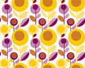 60s floral retro pattern. geometry decorative style