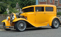 S ford model a hotrod front low angle shot of yellow Royalty Free Stock Photography