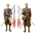 40s french soldier with a flag, back and front view, isolated on Royalty Free Stock Photo