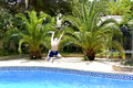 It`s fun to jump into a swimming pool!!! Royalty Free Stock Photo