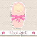 It s a girl the baby in sleeping bag in pink shades Royalty Free Stock Photography