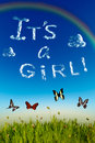 It s a girl greeting card boy printed with cloud letters over blue sky Royalty Free Stock Photos