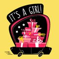 It`s a girl greeting post card or sticker , cartoon wrong perspective minimal flat style. running car full of presents , gifts sta