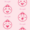 It's a girl pink seamless background with baby gir Royalty Free Stock Photos