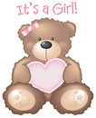 It's a Girl! Teddy Bear sign Stock Photo