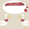 It s a girl vector retro greeting card Royalty Free Stock Photos