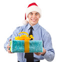 That s a holiday worker in blue shirt with gift Stock Photography