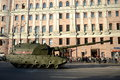 The s koalitsiya sv is a new prospective russian self propelled gun moscow russia may military equipment on tverskaya street Royalty Free Stock Photography