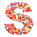 S Letter   made of giftboxes Royalty Free Stock Photo