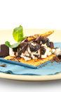S more on plate with chocolate and marshmellows ready to be eaten Stock Image