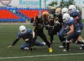 S nikiforov run russia podolsk city july with ball on friendship football game spartans vs vityazi on july in moscow region Stock Photos