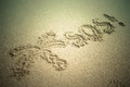 S o s written in the sand beach background top view tinted Stock Image