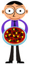 It s a pizza business cartoon illustration of man with Royalty Free Stock Image