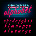 80`s retro alphabet font. Glow effect shiny lowercase letters. Royalty Free Stock Photo
