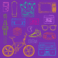S retro objects outline lifestyle in fun style Royalty Free Stock Image