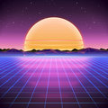 80s Retro Sci-Fi Background with Sunrise or Sunset Royalty Free Stock Photo
