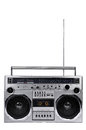 1980s Silver ghetto radio boom box with antenna up isolated on w Royalty Free Stock Photo