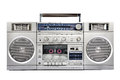 1980s Silver radio boom box isolated on white. front Royalty Free Stock Photo