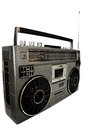 1980s Silver retro, boom box and headphone isolated on white. Royalty Free Stock Photo