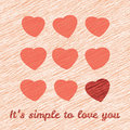 It s simple to love you happy valentine s day sweet postcard love card with hearts grunge backdrop Royalty Free Stock Photos