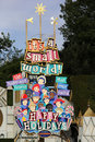 It s a small world during holidays at disneyland california happy holiday sign at ride Royalty Free Stock Image