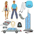 1990s style fashion and technologies, epoch symbols, man and woman Royalty Free Stock Photo