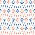 1950s Style Retro Love Heart Seamless Vector Pattern. Hand Drawn Texture