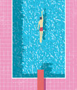 1980s style summer holiday poster with swimmer in swimming pool. Pink grunge worn tiles and water texture.