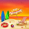 It`s summer time banner with chair striped, umbrella, surfboard and lifebuoy on a sunset summer background Royalty Free Stock Photo