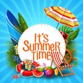It`s summer time banner design with white circle for text and beach elements Royalty Free Stock Photo
