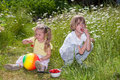 It s summertime kids snacking strawberries fresh from the gard two sitting on a meadow full with flowers and garden Stock Image