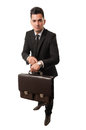 It s time for new business contracts man showing his watch and briefcase because Stock Photography