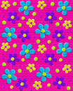 S upholstery in hot pink background image is like fabric style daisies purple aqua and yellow decorate surface Royalty Free Stock Photography