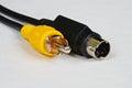 S-video to phono-RCA adaptor lea. Royalty Free Stock Photo