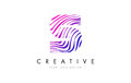 S Zebra Lines Letter Logo Design with Magenta Colors