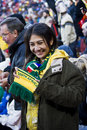 SA Soccer Fans Bundled Up & Brave the Cold Royalty Free Stock Photography