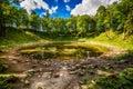 Saarema Island, Estonia: the main meteorite crater in the village of Kaali Royalty Free Stock Photo