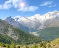 Saas fee with surroundinmg mountains alpine town of in valley surrounded by high vailais switzerland Stock Photography
