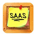 Saas yellow sticker on bulletin cork or message board information technology concept d render Stock Photo