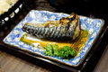 Saba fish grilled mackerel in japanese sauce in plate Royalty Free Stock Image