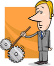 Saboteur businessman cartoon illustration concept of man or putting stick in cogs to spoil a machine Stock Photography