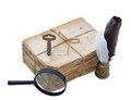 Sack of aged and grungy letters with writing implements and objects Royalty Free Stock Photography