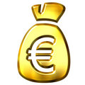 Sack full of Euros Stock Photography