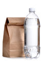 Sack lunch brown paper bag with water bottle Stock Photos