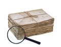 Sack of old and grungy letters with magnifier isolated Stock Photos