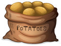 A sack of potatoes illustration on white background Royalty Free Stock Image