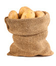 Sack of potatoes raw on white background Stock Image