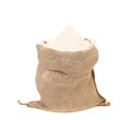 Sack with wheat flour isolated on a white background Royalty Free Stock Images