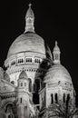 Sacré Coeur Basilica illuminated at night, Montmartre, Paris, France Royalty Free Stock Photo