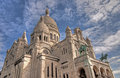 Sacré cœur towering high a worms eye view of the sensational basilica in paris Royalty Free Stock Images